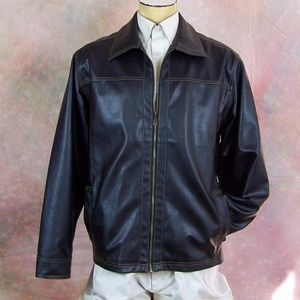 Point Zero Mens L Brown Faux Leather Jacket Coat